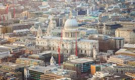 Saint Paul cathedral in London city. Aerial view Stock Photo