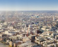 Saint Paul cathedral in London city. Aerial view Stock Images
