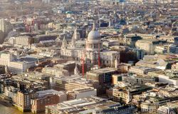 Saint Paul cathedral in London city. Aerial view Royalty Free Stock Photo