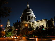 Saint Paul Cathedral, London. St. Paul Cathedral under maintenance at night, London, UK, 2005 Royalty Free Stock Photos