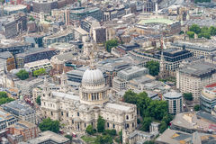 Saint Paul Cathedral, London. View from helicopter.  Royalty Free Stock Photography