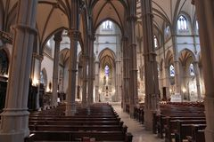 Saint Paul Cathedral. PITTSBURGH, USA - JUNE 30, 2013: Interior view of Saint Paul Cathedral in Pittsburgh. The Gothic Revival building was completed in 1906 and Stock Photos