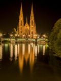 Saint Paul church from Strasbourg at night Royalty Free Stock Photos