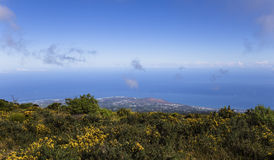 Saint Paul coastline, from piton Maido, La Reunion island. PITON MAIDO, LA REUNION, FRANCE, APRIL 30 :  Saint Paul coastline from viewpoint of piton Maido, La Stock Image