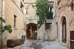SAINT PAUL DE VENCE - AUGUST 28 is a beautiful medieval fortified village perched on a narrow spur between two deep valleys on Aug Royalty Free Stock Photo