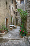 Saint-Paul-de-Vence: cozy street in the medieval French town Stock Photos