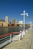 Saint Paul-horizonvorm Harriet Island Marina, St. Paul, Minnesota, de V.S. Stock Fotografie