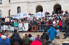 State Representative Speaks at Rally. Saint Paul, Minnesota, USA – MARCH 24, 2018: State Representative Dario Anselmo gives speech to crowd at State Capitol Royalty Free Stock Photography