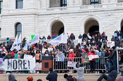 West Metro Walkout Activists at State Capitol. Saint Paul, Minnesota, USA – MARCH 24, 2018: Students from West Metro Walkout activist group take to the podium Royalty Free Stock Images