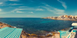 Saint Paul`s bay colorful panorama from Bugibba, Malta. EU Stock Images