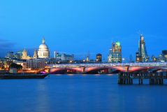 Saint Paul's Cathedral and Blackfriars Bridge Royalty Free Stock Images