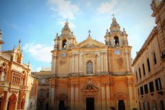Saint Paul`s Cathedral designed by the architect Lorenzo Gafa in Mdina, Malta Stock Images