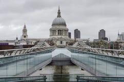 Saint Paul`s cathedral from millennium bridge, London Stock Image