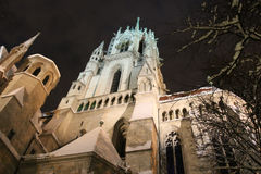 The Saint Paul`s Church front fragment at night in winter time, Munich, Bavaria, Germany Stock Images