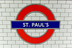 Saint Paul`s Underground Station - London Royalty Free Stock Photo