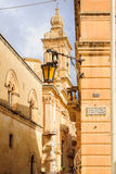 Saint Paul square in Mdina. View of Saint Paul square and nearby alley in Mdina, Malta Stock Image