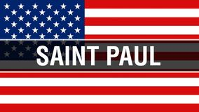 Saint Paul stad på en USA flaggabakgrund, tolkning 3D USA flagga som vinkar i vinden stolt amerikanska flaggan stock illustrationer