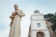 Saint Paul statua w St Paul ` s kościół jest historycznym kościelnym budynkiem w Melaka, Malezja fotografia royalty free