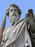 Saint Paul with sword. Statue of Saint Paul with his sword, looking down at us. St. Paul's Basilica, Vatican City royalty free stock image