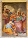 Saint Paul is Warned about the Jerusalem Mob. The fresco with the image of the life of St. Paul: Paul is Warned about the Jerusalem Mob, basilica of Saint Paul royalty free stock photo