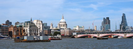 Saint Pauls Cathedral Blackfriars bridge and city skyscrapers Stock Photo