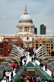 Saint pauls cathedral and millennium bridge Royalty Free Stock Image