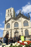 Saint-Paulus cathedral, flower market. Münster Royalty Free Stock Image