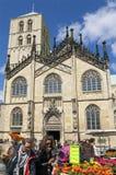 Saint-Paulus cathedral, flower market. Münster Stock Image