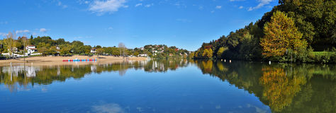 Saint-Pee-sur-Nivelle Lake in French Basque Coundry. Panoramic view of Saint-Pee-sur-Nivelle Lake in French Basque Country, Province of Labourd, Atlantic Royalty Free Stock Images