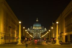 Saint peter. A night shot of saint peter, in rome Stock Images