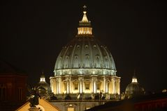The Saint Peter Basilica. Rome by night series - A view of the Saint Peter Basilica, the symbol of the occidental christianity Royalty Free Stock Images