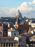 Saint Peter Basilica Dome. Overview of Rome and the St. Peter's basilica in Vatican City Stock Photo