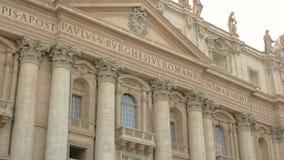 Saint Peter Basilica facade, statues. Renaissance architecture building. Famous landmark of Vatican stock footage