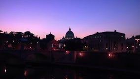 Saint Peter Basilica at night stock video footage