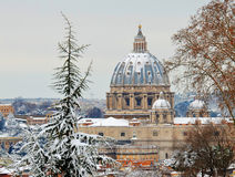 Saint peter basilica under-snow Royalty Free Stock Images