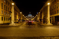 Saint Peter Basilica and Vatican City in the Night, Rome Stock Photo