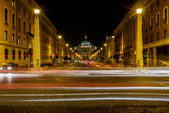 Saint Peter Basilica and Vatican City in the Night, Rome Stock Photography