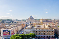 Saint Peter Basilica and the Via della Conciliazione Royalty Free Stock Photo