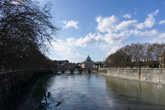 Saint Peter Basilica view from Ponte Umberto Stock Photo