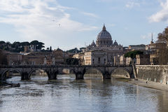 Saint Peter Basilica view from Ponte Umberto Royalty Free Stock Images