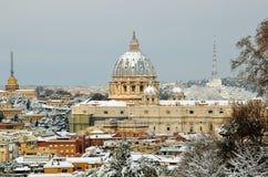 Saint peter basilica in winter season 2012. Saint peter basilica under the snow in winter season 2012 Royalty Free Stock Image