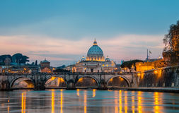 Saint Peter cathedral over Tiber river in Rome Stock Image