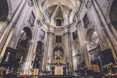 Saint Peter Church Altar in Ghent. January, 3th, 2017 - Ghent, East Flanders, Belgium. Interior of Our Lady and St. Peter basilica. Saint Peter church altar Stock Photo