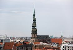 Saint Peter church in the center of the old town riga royalty free stock photos
