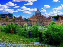 Saint peter dome daytime landscape rome Italy. Saint or st. peter dome daytime landscape rome Italy Royalty Free Stock Photo