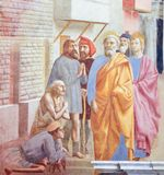 Saint Peter Healing the Sick - Fresco in Florence Stock Photo