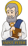 Saint Peter Holding a Book and Key with Stone Sign, Vector Illustration Royalty Free Stock Images
