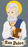 Saint Peter Holding Key and Book behind Greeting Scroll, Vector Illustration Stock Photography