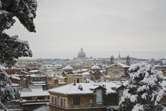 Saint Peter panorama under snow from Pincio Royalty Free Stock Images