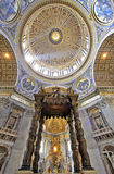 Saint Peter's Basilica. The spectacular interior and dome in Saint Peter's Basilica at the Vatican, Rome, Italy Stock Photos